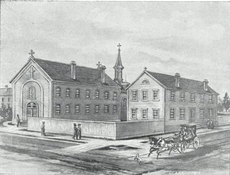 Historic illustration of St. Francis Parish, view from Brown and Vel R. Phillips